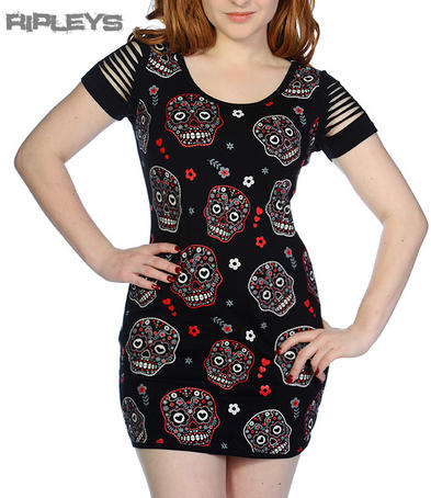 BANNED Goth MINI DRESS T Shirt Top Mini SUGAR SKULLS Slash Goth All Sizes